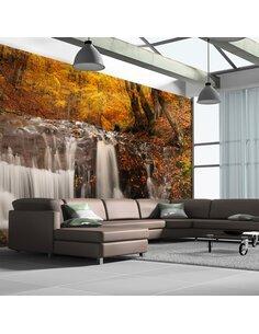 Papier peint grand format AUTUMN LANDSCAPE: WATERFALL IN FOREST - par Artgeist