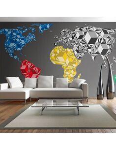 Papier peint grand format MAP OF THE WORLD COLORFUL SOLIDS - par Artgeist