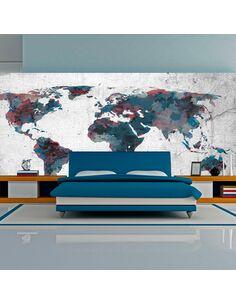 Papier peint grand format WORLD MAP ON THE WALL - par Artgeist