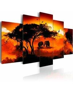 Tableau, en 5 Tableaux, AMOUR AFRICAIN - par Artgeist