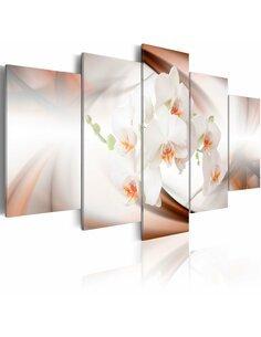 Tableau - 5 tableaux - Orchidée blanche dans l'abstraction - par Artgeist