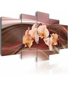 Tableau - 5 tableaux - Orchidées sur le fond raffiné Orchidées Artgeist