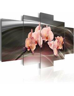 Tableau - 5 tableaux - Orchidée sur le fond gris foncé - par Artgeist