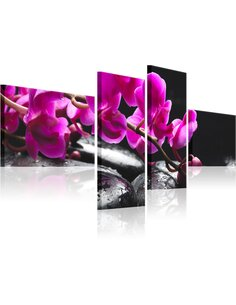 Tableau - 4 tableaux - Orchidée rose et pierre Zen - par Artgeist