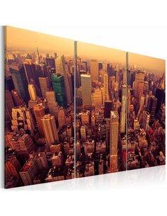 Tableau Triptyque - Coucher de soleil sur New York New York Artgeist