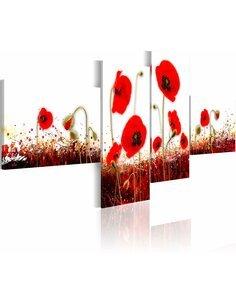 Tableau - 4 tableaux - Coquelicots rouges sur le fond blanc - par Artgeist