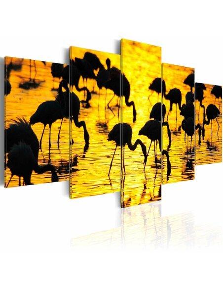 tableau flamants au bord de la mer artgeist. Black Bedroom Furniture Sets. Home Design Ideas