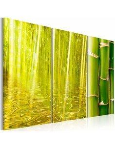 Tableau Triptyque - Bambou - miroir de l'eau - par Artgeist