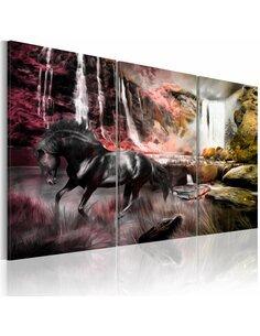 Tableau Triptyque - Cheval noir à la cascade - par Artgeist