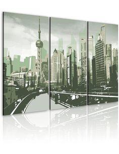 Tableau Triptyque - Inspiré de Shanghai, Chine - par Artgeist