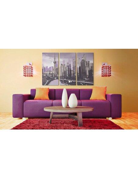 Tableau Triptyque - Shanghai en violet - par Artgeist