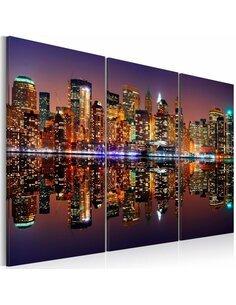 Tableau Triptyque - New York avec une réflexion sur l'eau New York Artgeist