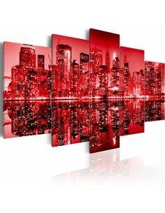 Tableau NEW YORK COMME UN CHIFFON ROUGE - par Artgeist