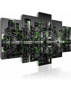 Tableau - 5 tableaux - Lumière à réflet émeraude des gratte-ciels à New York - par Artgeist