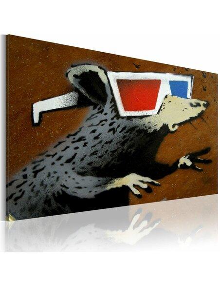 Tableau RAT AVEC DES LUNETTES 3D Bansky - par Artgeist
