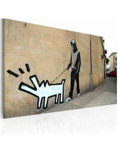 Tableau CHIEN QUI ABOIE NE MORD PAS Bansky - par Artgeist