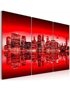 Tableau Triptyque - Lumière rouge au-dessus de New York - par Artgeist