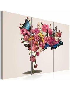 Tableau Triptyque - Papillons, fleurs et carnaval - par Artgeist