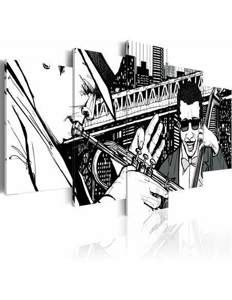 Tableau CONCERT DE JAZZ SUR FOND DE GRATTE-CIELS DE NEW YORK 5 pièces - par Artgeist