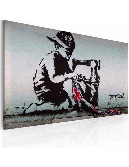 Tableau UNION JACK KID Bansky - par Artgeist