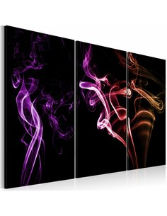 Tableau Triptyque - Fumée colorée Modernes Artgeist