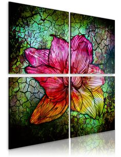Tableau - 4 tableaux - Fleur de verre Fleurs variées Artgeist