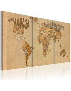 Tableau Carte Du Monde En Beige Et Brun  Cartes du monde Artgeist
