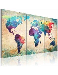Tableau Le Monde Peint À L'Aquarelle  Cartes du monde Artgeist