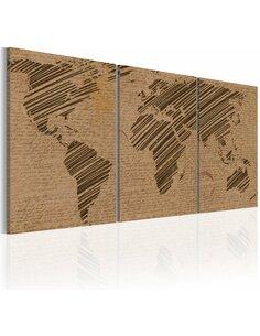 Tableau Le Monde Comme Un Journal Intime  Cartes du monde Artgeist