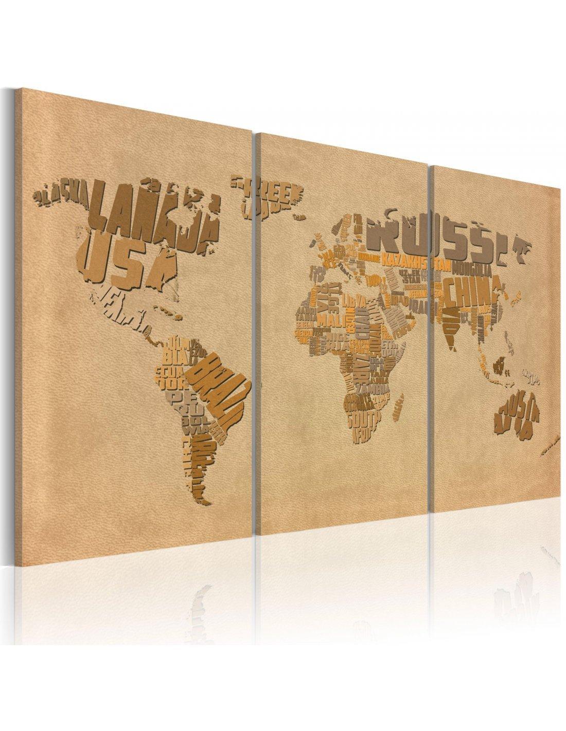 tableau triptyque ancienne carte du monde 74 90 chez recollec. Black Bedroom Furniture Sets. Home Design Ideas