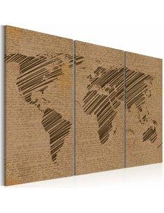 Tableau Triptyque - Carnet de voyage Cartes du monde Artgeist