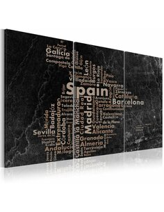 Tableau MAP OF SPAIN ON THE BLACKBOARD Triptyque - par Artgeist