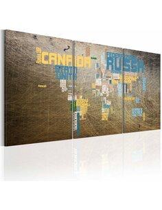 Tableau Carte Du Monde Style Industriel  Cartes du monde Artgeist