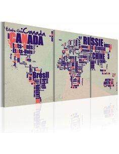 Tableau Carte En Français  - Cartes du monde par Artgeist