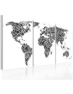 Tableau Lettres Et Continents  Cartes du monde Artgeist