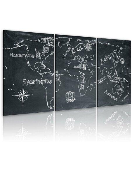 Tableau VOYAGEUR CURIEUX Suède - Cartes du monde par Artgeist