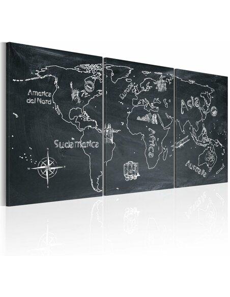 Tableau VOYAGEUR CURIEUX Italie - Cartes du monde par Artgeist