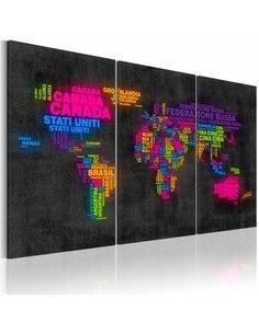 Tableau Triptyque - Carte du monde italienne - par Artgeist
