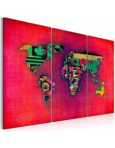 Tableau LE MONDE EST À MOI Triptyque - Cartes du monde par Artgeist