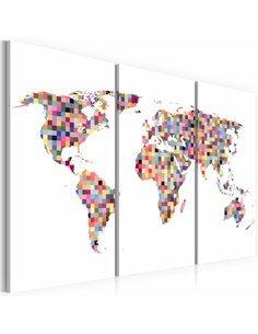Tableau Triptyque - Carte du Monde en pixels Cartes du monde Artgeist