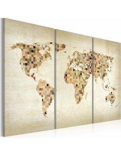 Tableau Triptyque - Monde en beige Cartes du monde Artgeist