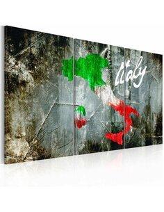 Tableau Triptyque - Carte artistique de l'Italie Cartes du monde Artgeist