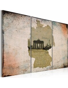 Tableau Triptyque - map: Germany, Brandenburg Gate - carte - par Artgeist