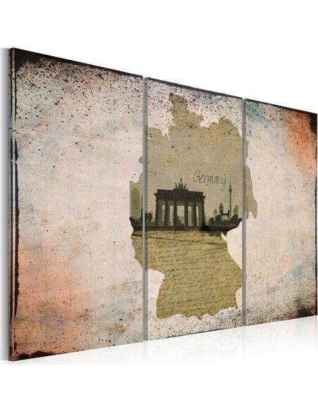 Tableau Triptyque - map: Germany, Brandenburg Gate - carte - par Artgeist