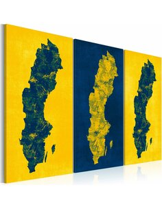 Tableau Triptyque - Carte peinte de la Suède Cartes du monde Artgeist