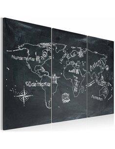 Tableau Triptyque - Leçon de géographie (langue allemande) Cartes du monde Artgeist