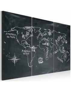 Tableau Triptyque - Leçon de géographie (langue française) Cartes du monde Artgeist