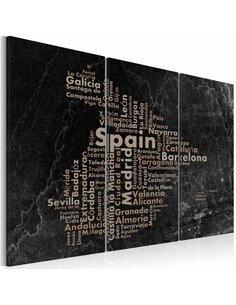 Tableau TEXT MAP OF SPAIN ON THE BLACKBOARD Triptyque - par Artgeist