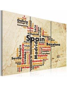 Tableau CARTE: VILLES ESPAGNOLES Triptyque - Cartes du monde par Artgeist