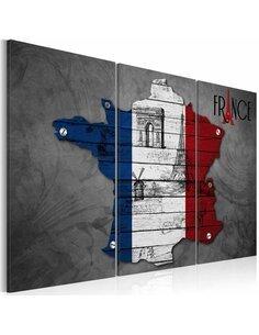 Tableau Triptyque - Symboles de la France Cartes du monde Artgeist